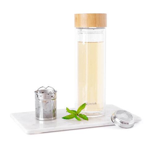 Isolierflasche aus Glas mit Siebeinsatz, Qwetch, Bambus, vegan, cruelty free, zero waste