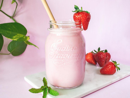 Erdbeermilch mit Minze