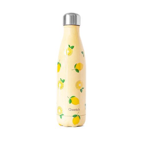 Edelstahl Flasche mit Zitronen, Qwetch, vegan, cruelty free, zero waste