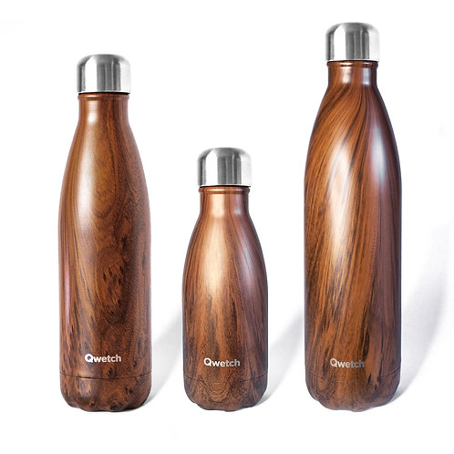 Reusable insulated stainless steel bottle, Wood, 500ml - Qwetch