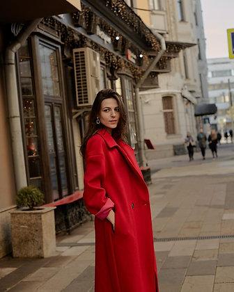 Пальто красное кашемировое
