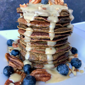 Sweet Potato Pancakes with Cashew Carmel Drizzle