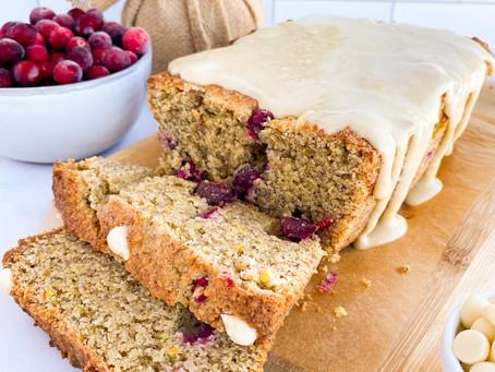 Cranberry Orange Loaf + White Chocolate (Paleo & Gluten Free)