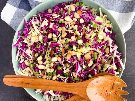 Easy Cabbage Salad + 2 Ingredient Dressing