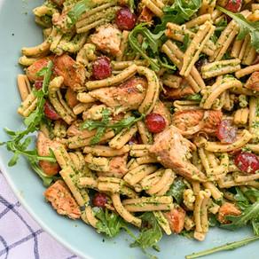 Arugula Pesto Pasta + Quick Pickled Grapes | Gluten Free, Dairy Free & Vegan Option