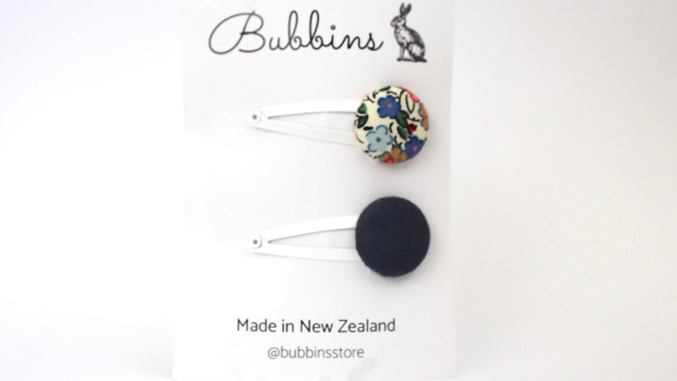 Bubbins - Snap Clips Navy and Aubrey