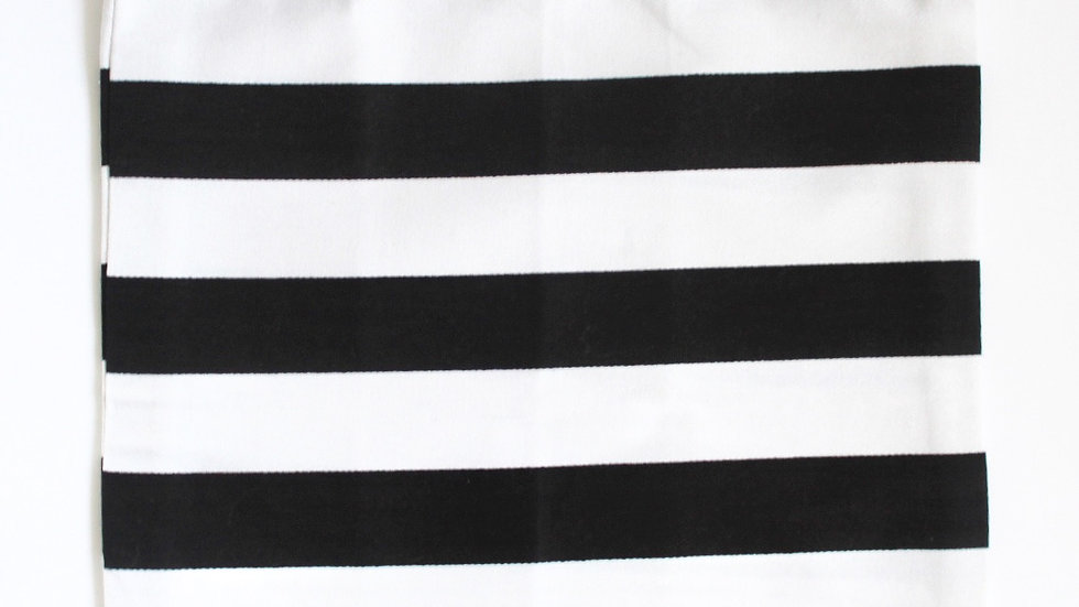 Brooksies - Drawstring Bag Small Black and White Stripe