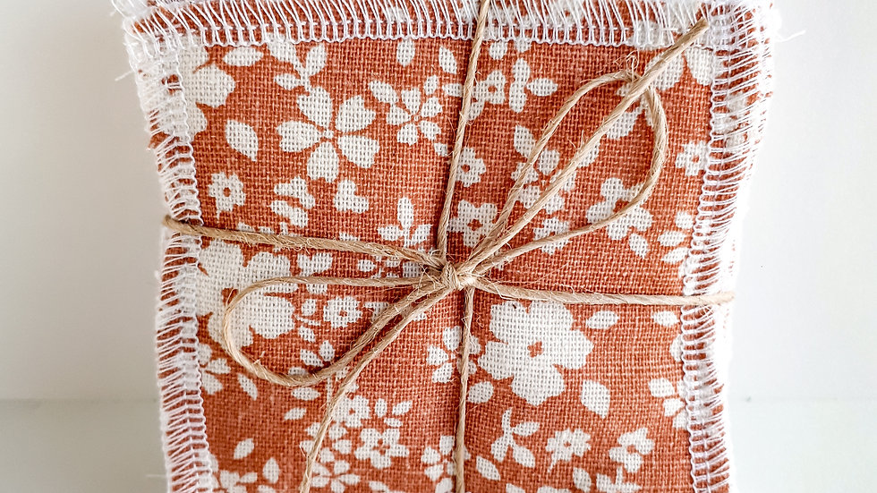 Brooksies - Face Sqaures Coral Linen