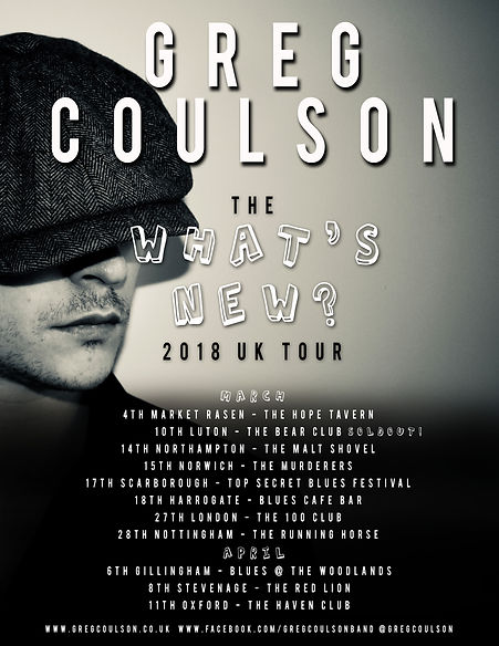 Greg Coulson What's New? 2018 tour Poster to promote his debut album