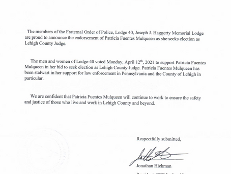 State Trooper FOP Lodge 40 Endorses and announces her stalwart support - Mulqueen for Judge