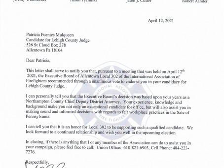 International Association of Fire Fighters Local 302 recommends Patricia Mulqueen for Judge