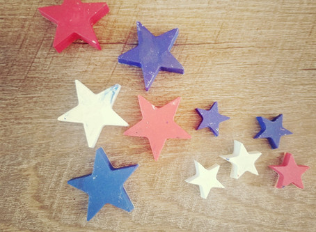 DIY Patriotic Red, White and Blue Star Crayons