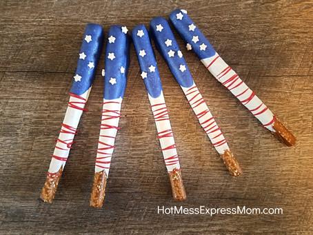 Patriotic American Flag Pretzels