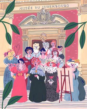 Hommage de l'illustratrice Marie Boiseau aux peintres femmes de l'expo du Musée du Luxembourg.
