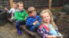 Children playing 'trains'