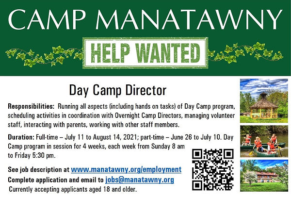 Help Wanted - Day Camp Director (Slide).