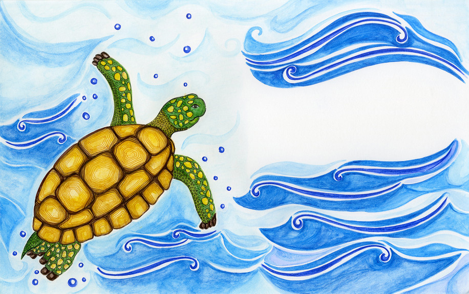 Slow-Solid Tortoise swims to safety.