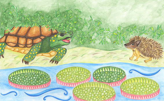 Slow-Solid and Stickly-Prickly eat breakfast by the Amazon River.