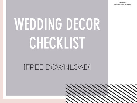 Wedding Decor Checklist [FREE download]