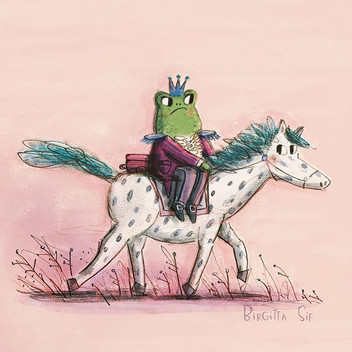 A grumpy prince frog off on his horse to