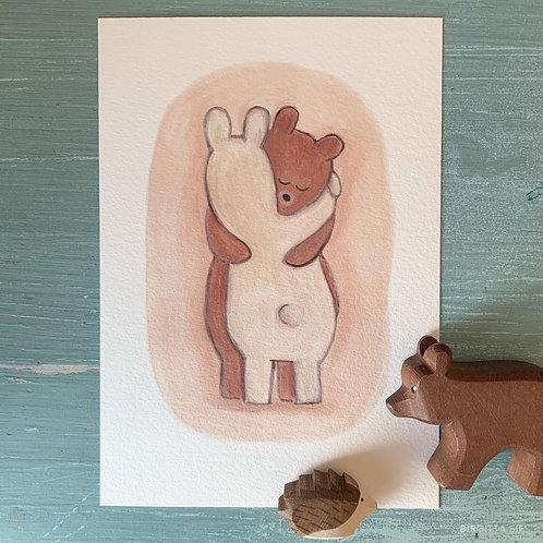 Bear Hug, A5 Giclée Print