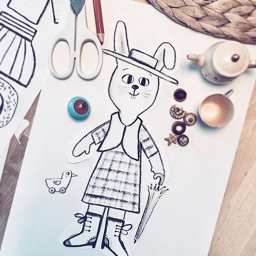 Rabbit doll printable