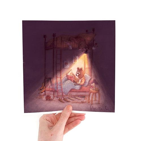 Flashlight Reading- 20x20 Giclée Print
