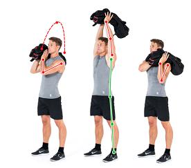 Sandbag Shoulder to Shoulder Press