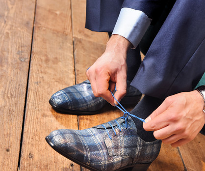 Teodoro Dark Blue Scottish Pattern Calf