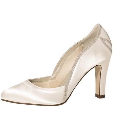 Kourtney Ivory Satin-Silver Fine Glitter