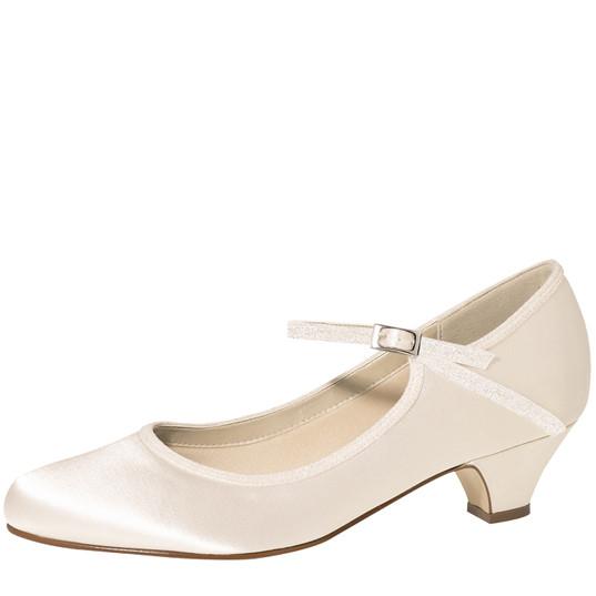 Marsha Ivory Satin-Off-White Fine Glitte