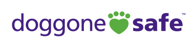 doggone safe in purple font with a green pawprint heart between the words