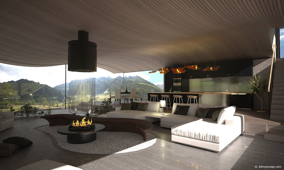 Visualizacion 3D Interior - Perspectiva de una casa en las montañas suizas - render de arquitectura