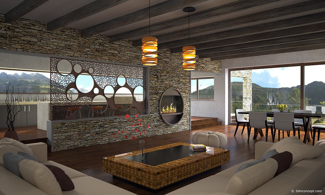 Visualisation Interieur 3D - Maison dans les montagnes en Suisse - rendu architecture