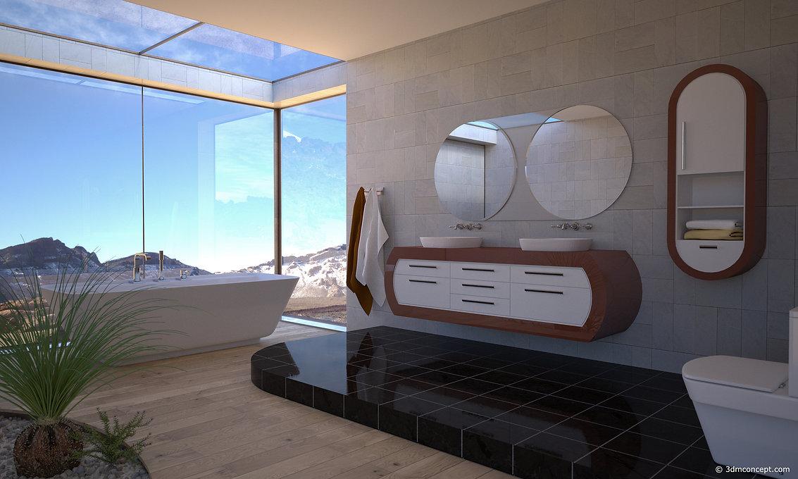 Visualisation Concept 3D - Visualisation interieur d'une Salle de bain Oregon United States - rendu architecture