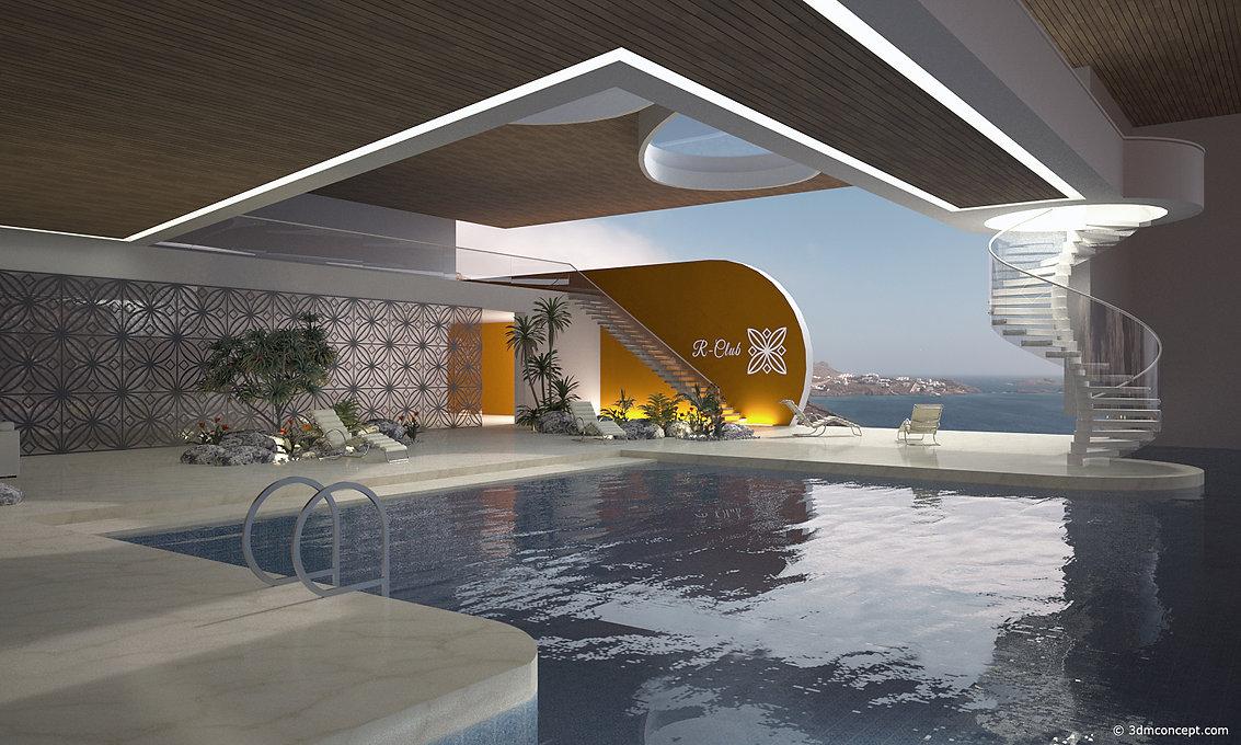 Visualisation Concept 3D - Projet conceptuel d'un Balnéaire en Grèce - sur l'île de Santorin - rendu architecture