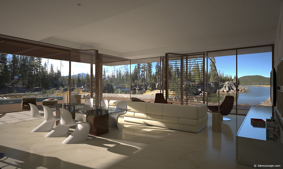 Visualisation Interieur 3D - Villa dans la forêt au Canada - rendu architecture