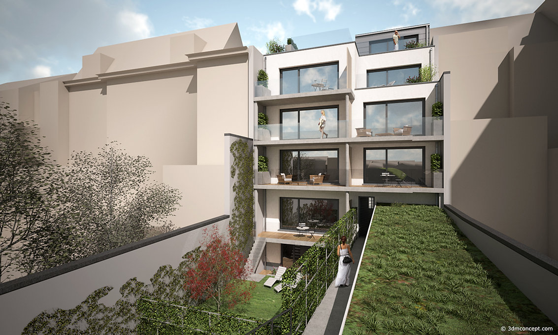 3D Exterior Visualization - Project in Brussels - Private back gardens - architectural rendering