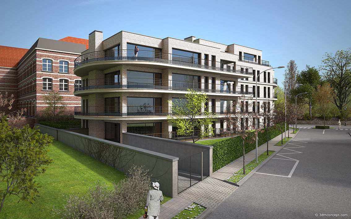 3D Exterior Visualization - Apartment building in Brussels - Boitsfort - architectural rendering