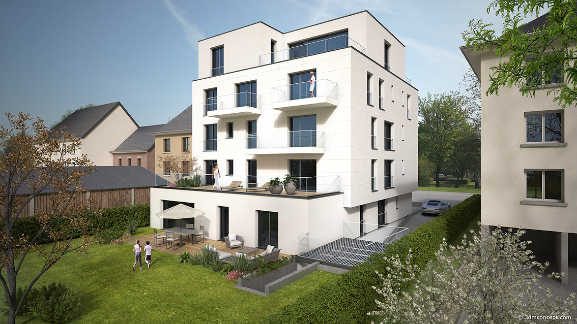 3D Exterior Visualization - Residence in Luxembourg, Rear façade - architectural rendering