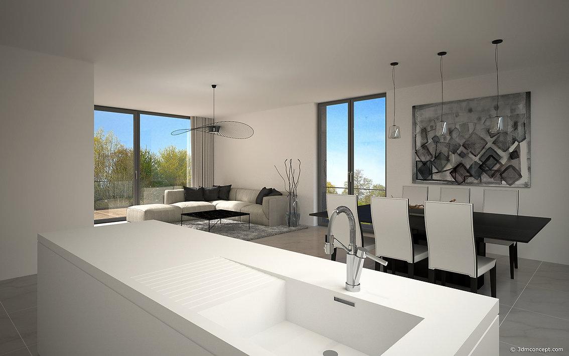 Visualisation Interieur 3D - Appartement au Luxembourg, Espace ouvert et design - rendu architecture