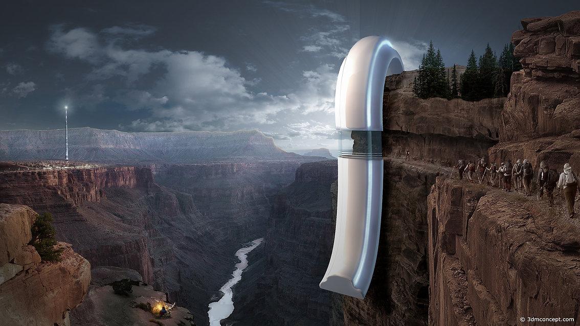 Visualisation Concept 3D - Projet conceptuel situé au Grand Canyon sur le fleuve Colorado en Arizona - rendu architecture