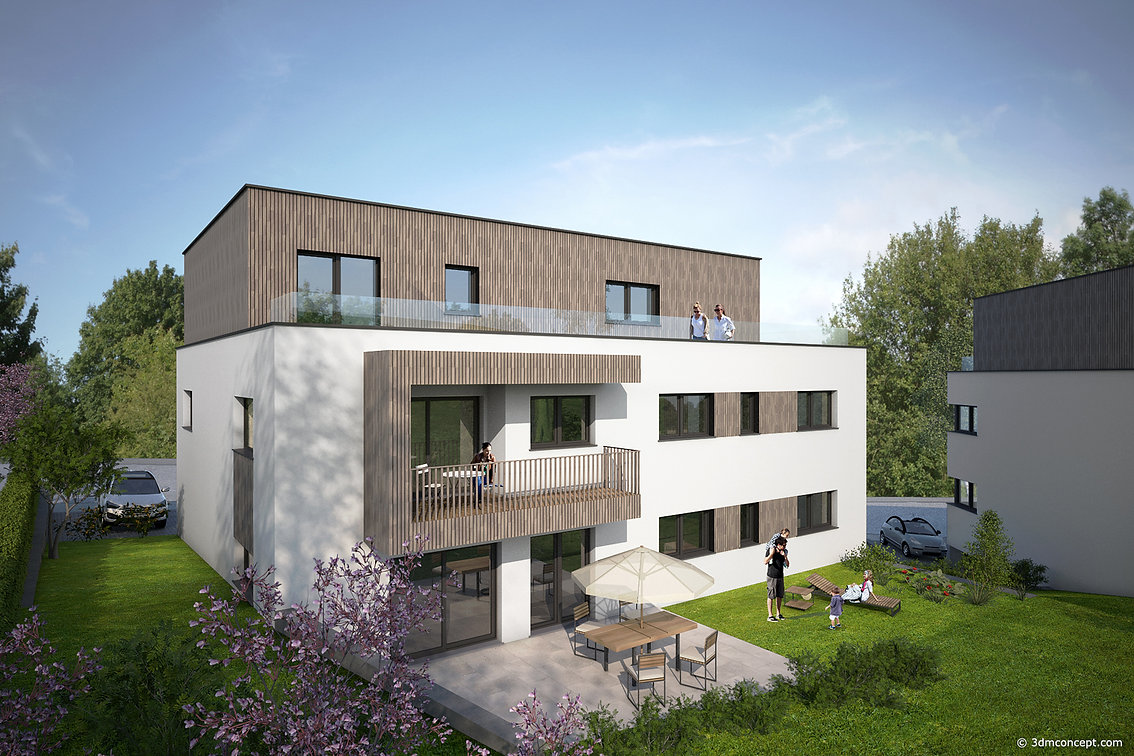 3D Exterior Visualization - Two residences in Luxembourg - architectural rendering