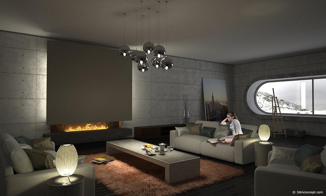 Visualisation Concept 3D - Concept d'un Intérieur pour un séjour, ambiance hiver - rendu architecture
