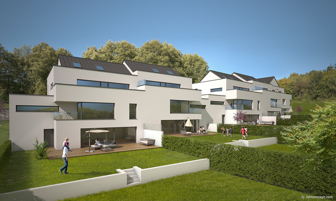 3D Exterior Visualization - Project of 5 single-family houses in Luxembourg - architectural rendering