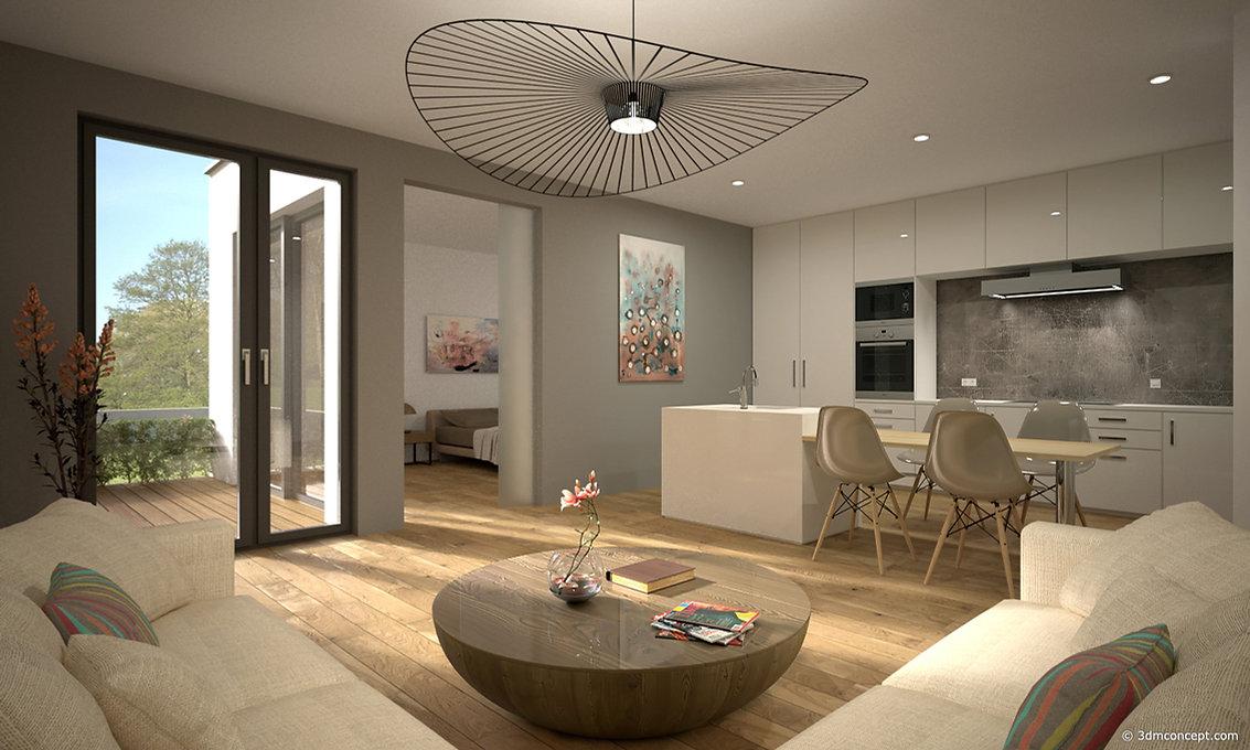 Visualisation Interieur 3D - Appartement minimaliste au Luxembourg - rendu architecture