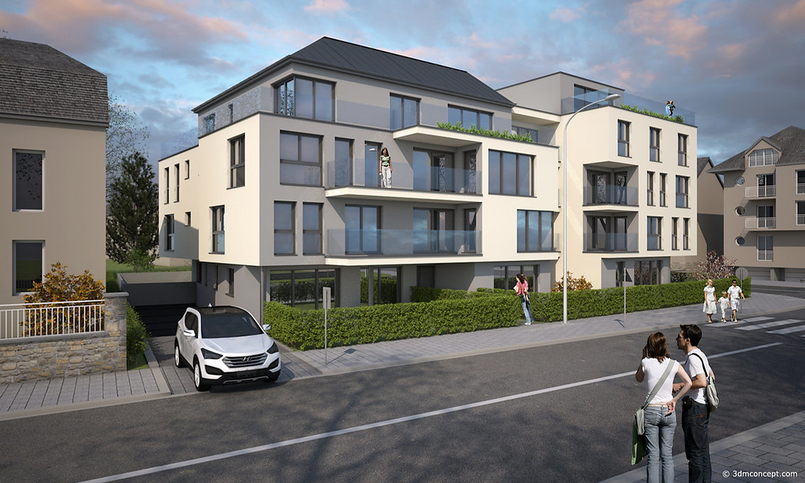 3D Exterior Visualization - Apartment building in Luxembourg - architectural rendering