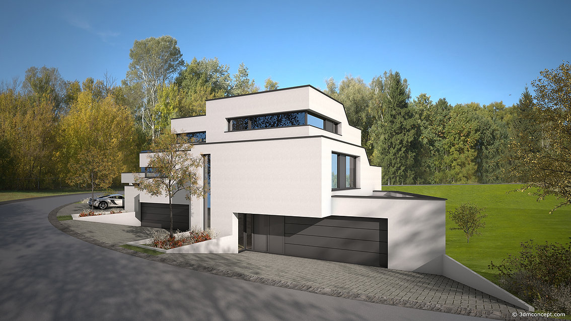 3D Exterior Visualization - Project of 3 single-family houses in Luxembourg - architectural rendering