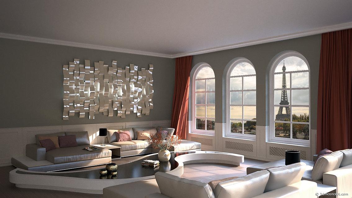 Visualisation Interieur 3D - Appartement à Paris avec superbe vue sur la Tour Eiffel - rendu architecture