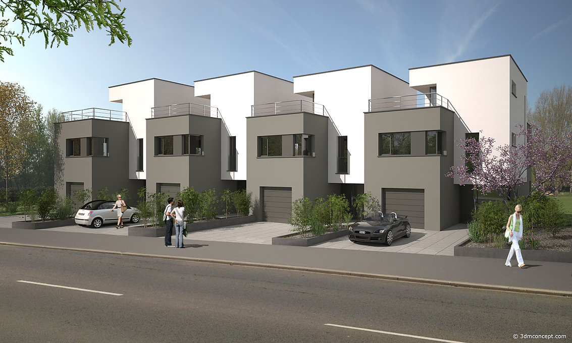 3D Exterior Visualization - Four single-family houses in Luxembourg - architectural rendering